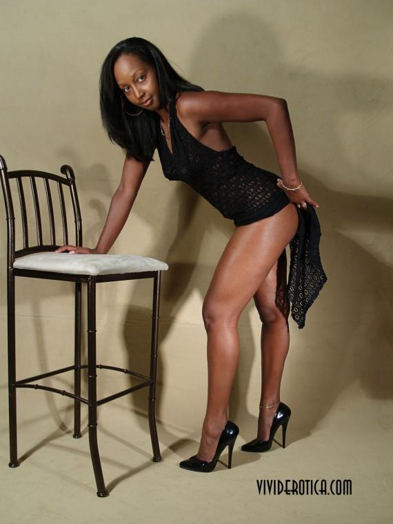 Long legged, high heeled, ebony beauty, Sage Shepherd.